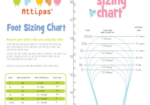 Bảng size giầy Attipas - Hướng dẫn chọn size giầy tập đi Attipas - attipas.vn - attipas size