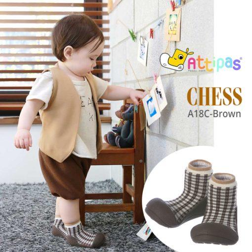 Giầy tập đi Attipas Chess A18CB-Brown - giầy xinh cho bé gái - giầy tập đi cho bé
