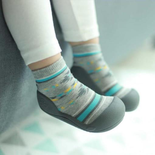 giầy tập đi, giầy tập đi cho bé trai, giầy tập đi cho bé gái, attipas nordic gray