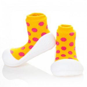 Giầy tập đi Attipas Polka Dot Yellow AD01 - Giày xinh cho bé gái 1 tuổi - giày cho bé gái dưới 1 tuổi