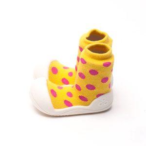 Giầy tập đi Attipas Polka Dot Yellow AD01 - Giầy xinh cho bé gái 1 tuổi - giầy xinh bé gái