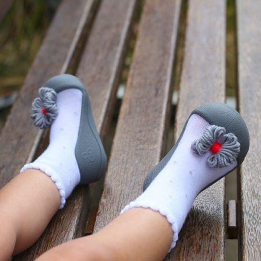 Giầy tập đi Attipas Ribbon Gray A18RG - giầy xinh cho bé gái tập đi - giầy tập đi cho bé gái