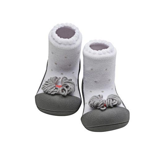 Giầy tập đi Attipas Ribbon Gray A18RG - giầy chức năng tập đi cho bé gái - giầy xinh cho bé gái
