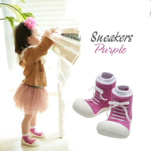 Giầy tập đi attipas sneakers purple as02 - giầy thể thao bé gái - giầy thể thao tập đi cho bé