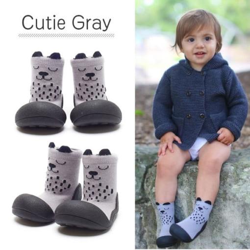 Giầy tập đi Attipas Cutie Gray A17CG- giầy xinh cho bé gái - giày bé gái tập đi tphcm