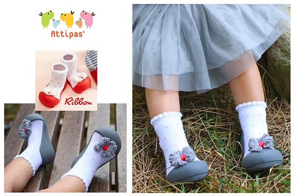 Giầy tập đi Attipas Ribbon - giầy xinh cho bé gái - giầy bé gái 1 tuổi