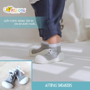 giầy tập đi attipas sneakers grey, giầy xinh cho bé trai 1 tuổi, giầy xinh cho bé gái tập đi