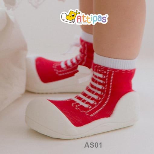 giầy tập đi attipas sneakers red, giầy xinh cho bé trai 1 tuổi, giầy bé trai 1 tuổi
