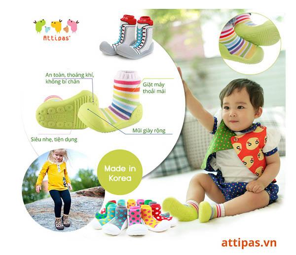 Giầy thể thao tập đi cho bé - giầy tập đi thể thao cho bé attipas