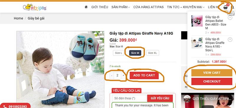 Hướng dẫn mua hàng - giầy tập đi cho bé Attipas Hàn Quốc